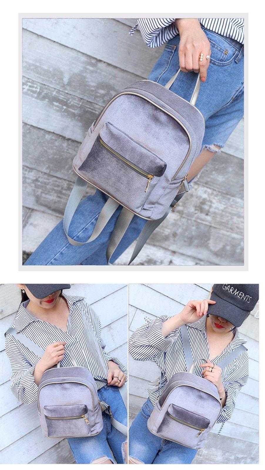 Duoya Women Teenage Girl Velvet Zipper Backpack School Bags Fashion  Shoulder Bag - Silver c76e8dd5882c3