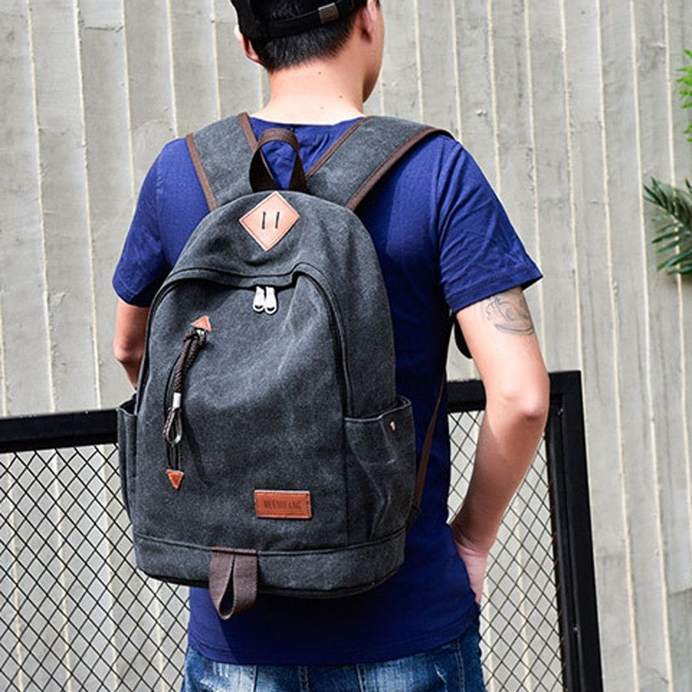 Generic Tectores Fashion Trend Casual Men Canvas Backpack School Travel  Student School Laptop Bag Gift 282effa4a10ad