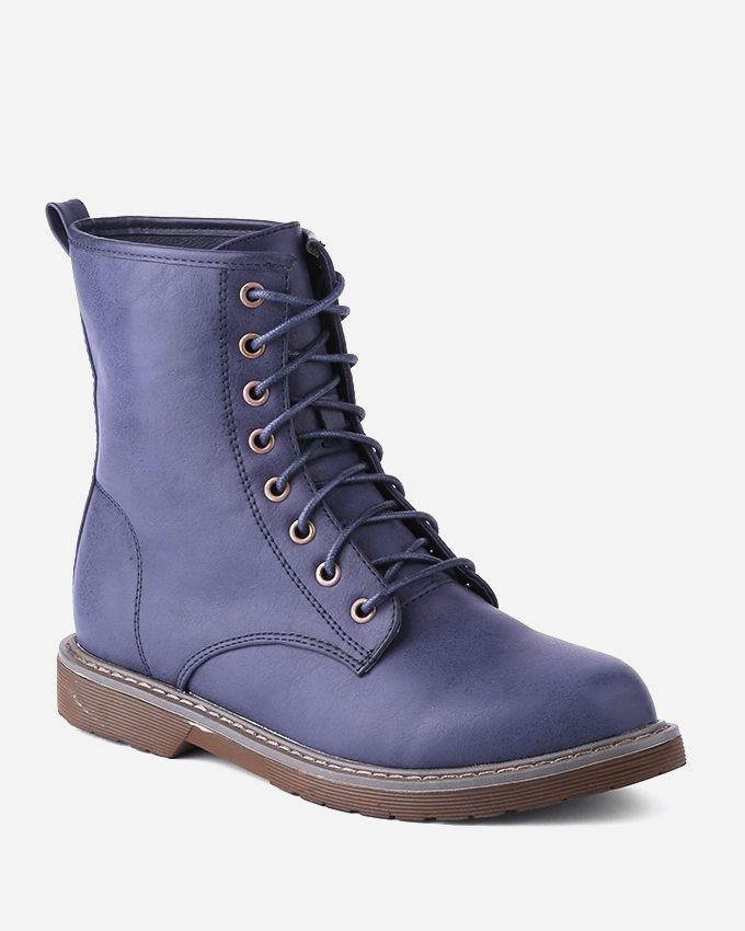 Joelle Lace-Up Flat Half Boots - Navy