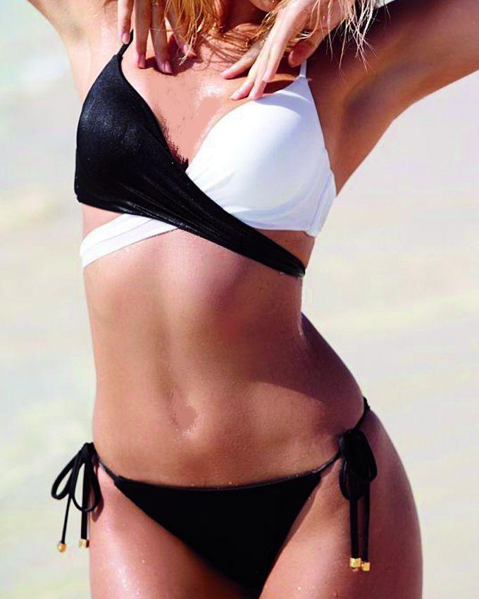 Lady Fashion Bi-Tone Bikini - Black & White
