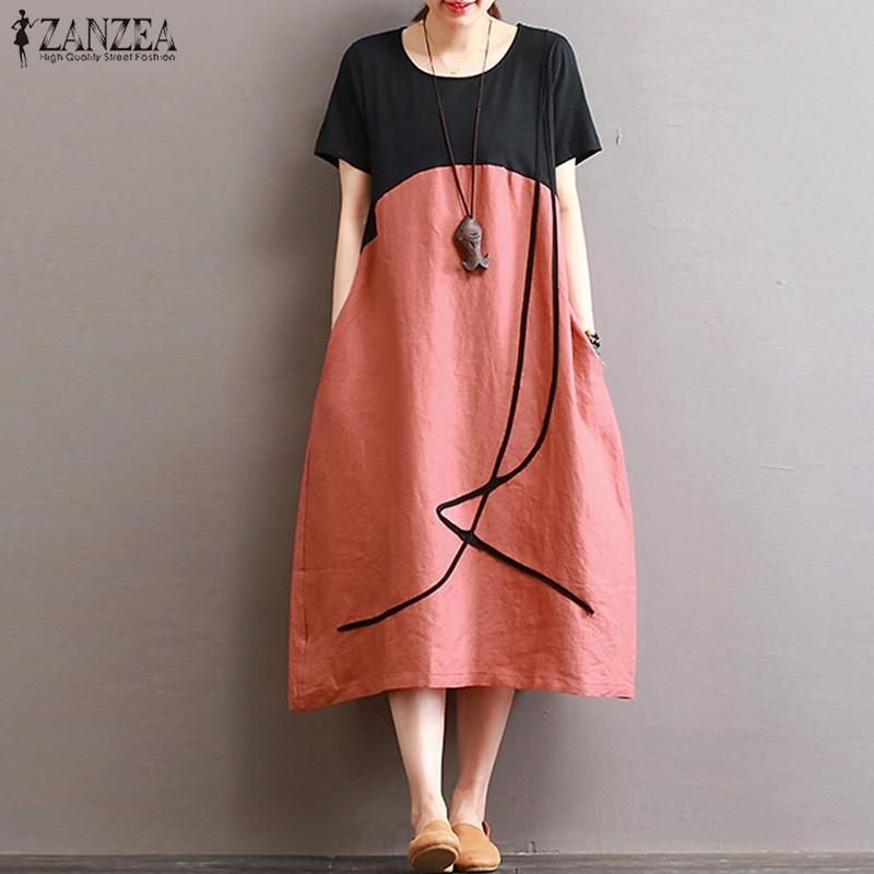 be63fe00a9f1 ZANZEA ZANZEA Summer Women Loose Plus Size Stiching Patchwork Short Sleeve  Linen Cotton Midi Dress Casual Retro Party Beach Baggy Tunic Kaftan Vestido  ...