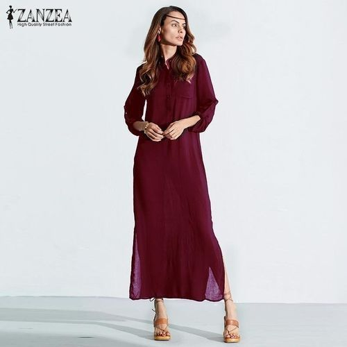 5e71707afd Fashion ZANZEA Fashion Women Summer Long Sleeve Dress Plus Size ...