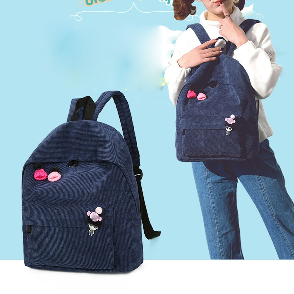 Neworldline Women Corduroy Backpack Girl School Fashion Shoulder Bag  Rucksack Travel Bags BU-As Shown 4765952a4f78f