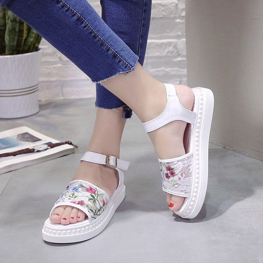 324326376 Fashion Blicool Shop Women Sandals Women Sandals Lace Flower Summer Slip-on Flats  Sandals Casual Ladies Shoes WH -White