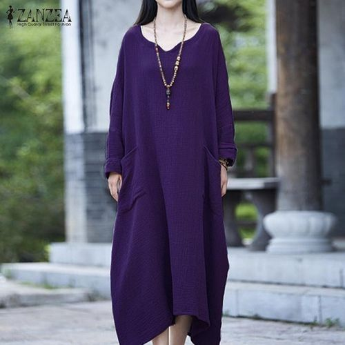 46855b5c0906 ZANZEA ZANZEA Womens Batwing Long Sleeve Loose Baggy Plus Long Maxi ...