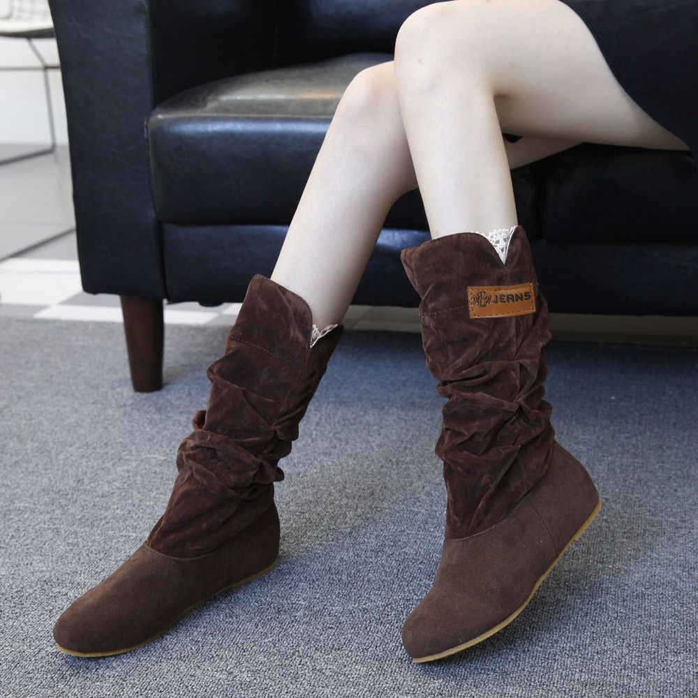6baf99a663e Eissely Woman Knee High Boots Flat Heel Nubuck Motorcycle Boot Autumn Winter  Shoes CO 35-Coffee 35