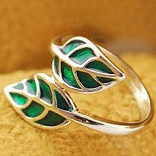 Neworldline Hot New Fashion Cute Silver Korean Style Double  Leaf Leaves Ring-Green