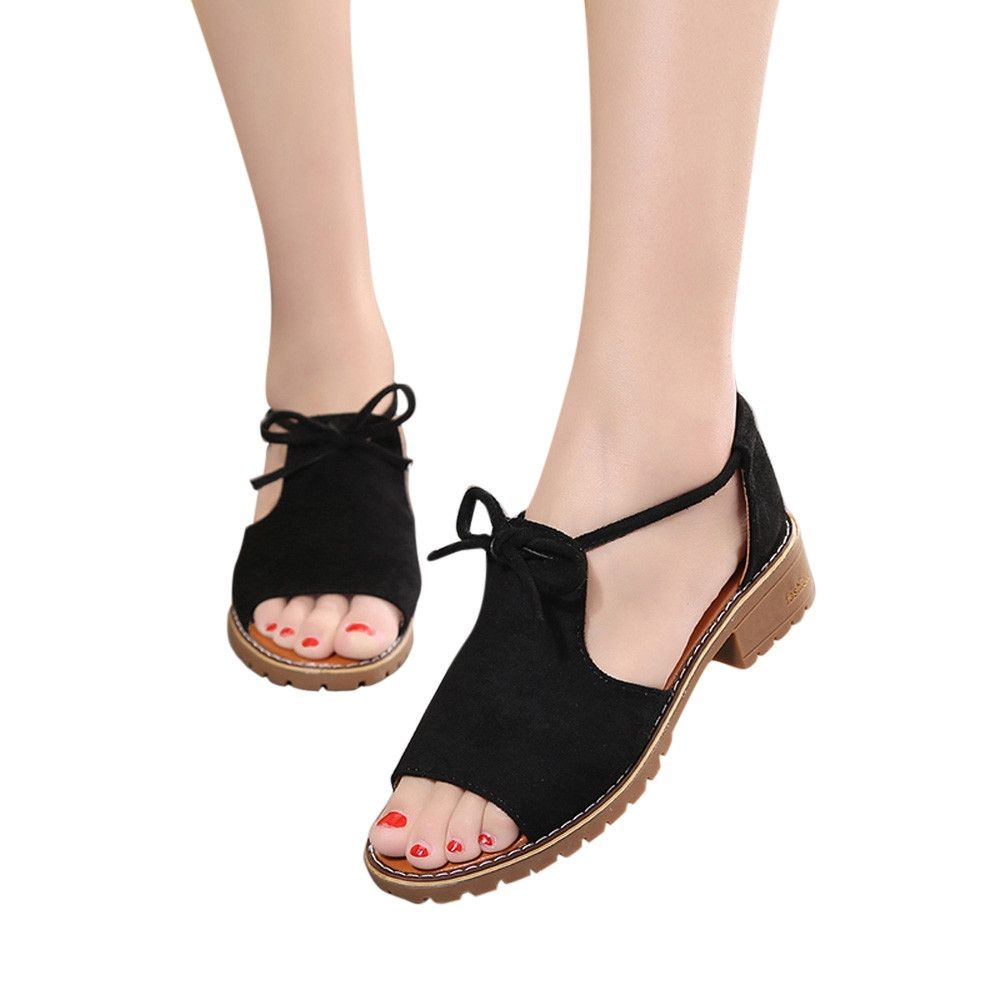 595b910dc5 Generic Tectores Fashion Trend Women's Ladies Lace Up Wedge Espadrilles  Summer Chunky Holiday Sandals Shoes