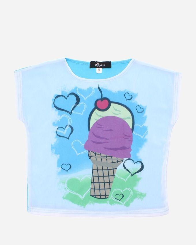 """Andora """"Ice Cream"""" Printed T-Shirt - Blue Sky"""