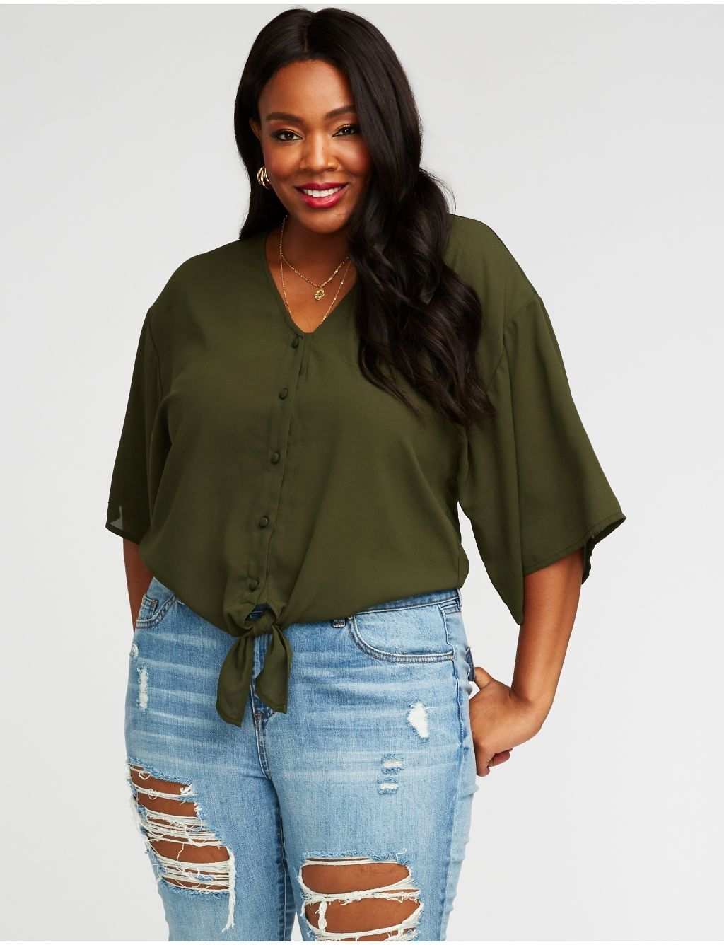 08af80547ec Charlotte Russe Plus Size Tie Front Button Up Top Price in Egypt ...