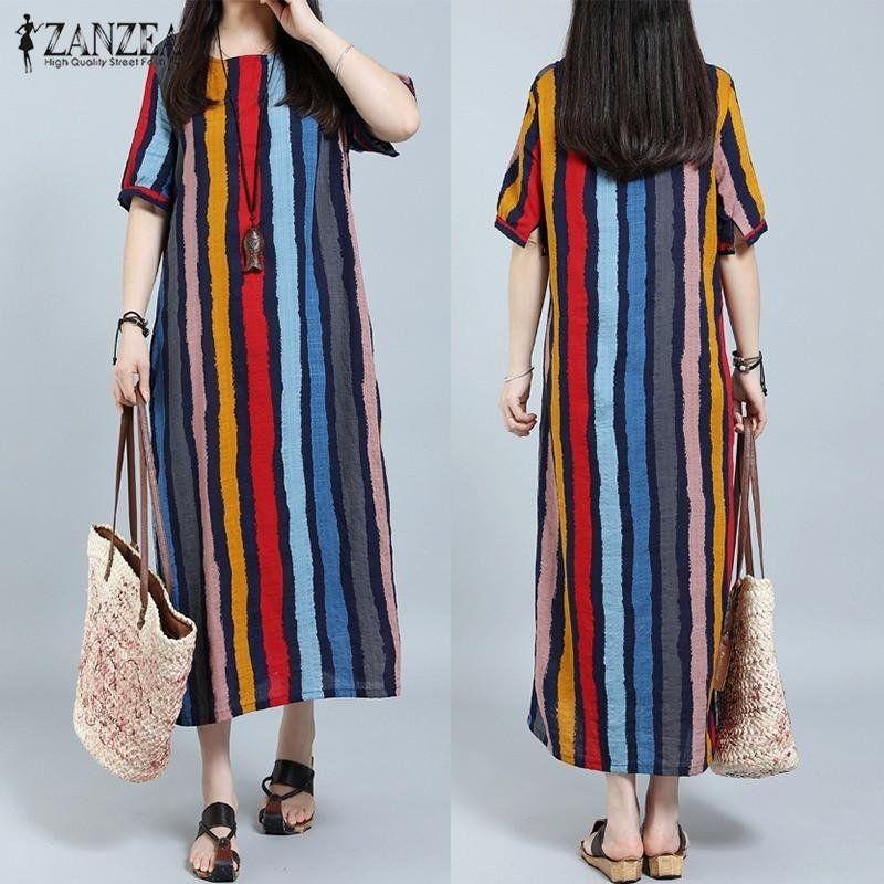 f8bcd4ba74 ZANZEA ZANZEA Fashion Women Short Sleeve Maxi Long Dress Boho Casual ...