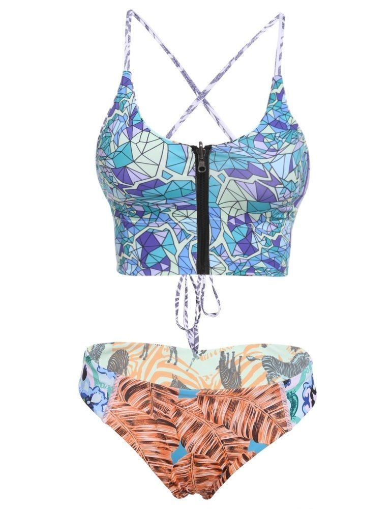 6b84f2638e Sunshine Sexy Two Pieces Set Halter Padded Print Back Lace-up ...