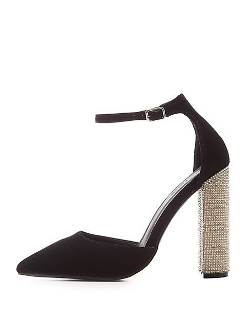5b8bc07fa4 Charlotte Russe Rhinestone Heel D'Orsay Pumps   Shoes   kanbkam.com