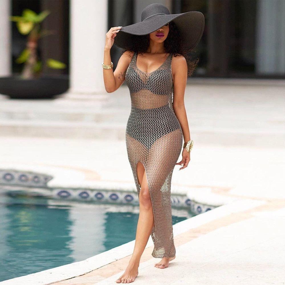 75610e2001 Generic Generic Women Crochet Hollow Out Beach Bikini Cover Up ...