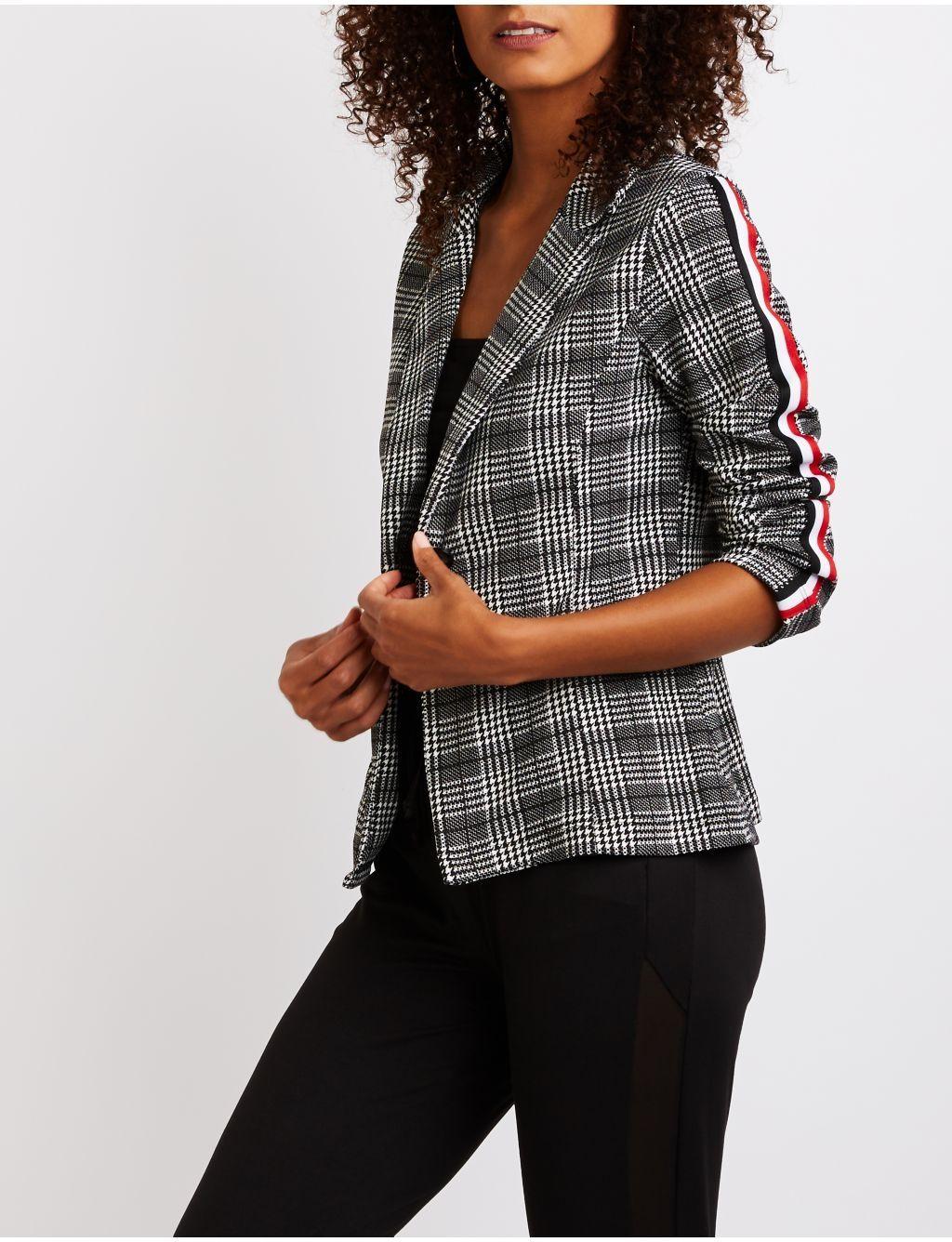 125d4ed257e Buy Charlotte Russe Plaid Striped Sleeve Blazer in Egypt