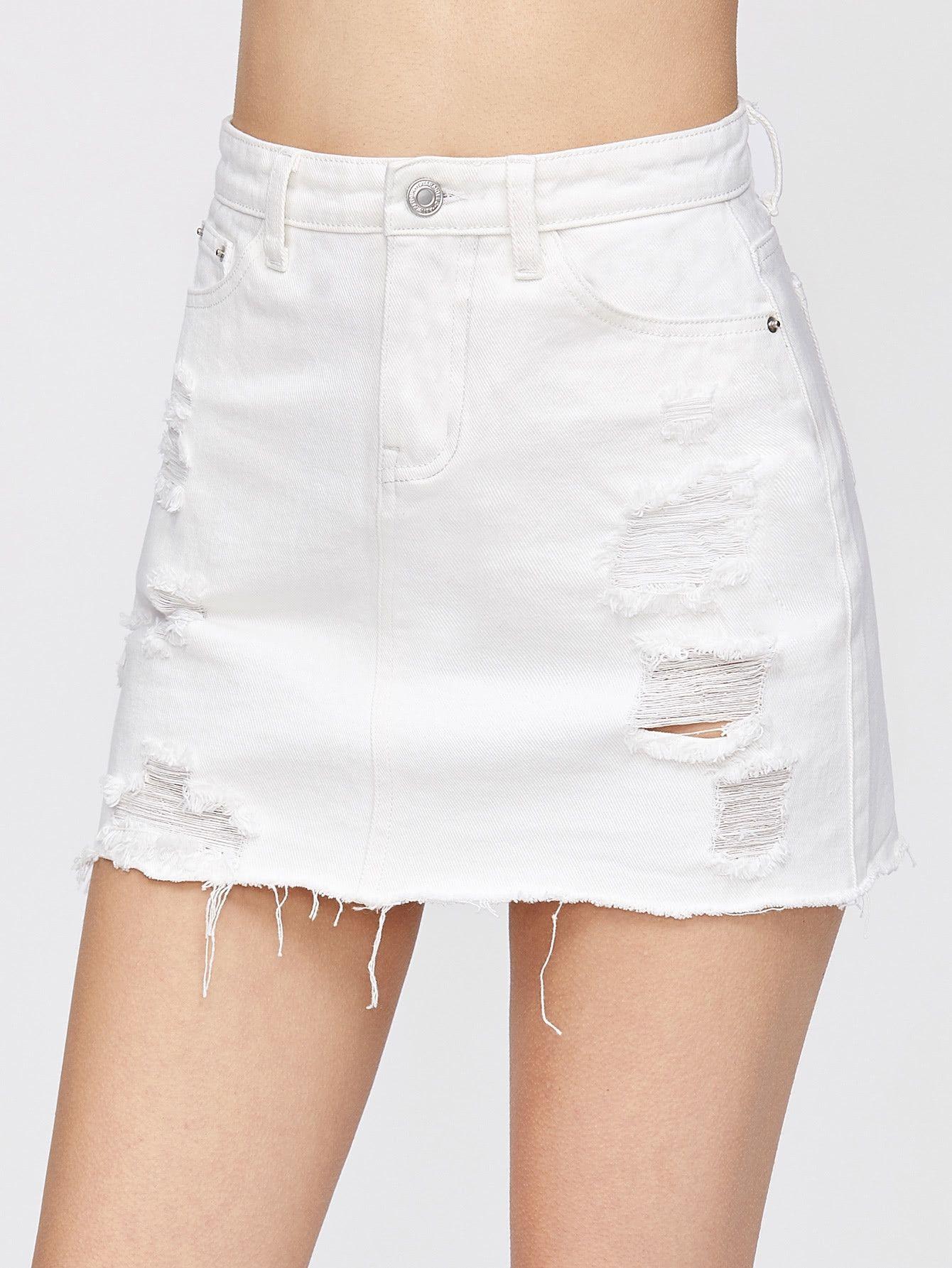 8e40f84876 SHEIN Distressed Fray Hem Denim Skirt Price in Egypt | Jumia ...