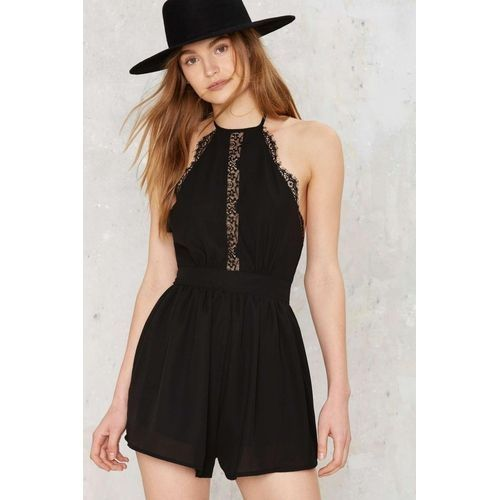 d827abddc5 Fashion YOINS Women New High Fashion Clothing Casual Sleeveless Open Back  Lace Insert Halter Black Playsuit Top