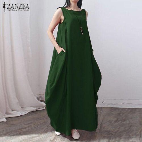 c6782b66b2 Fashion Casual Kaftan Linen Summer Dress Women Elegant Loose ...