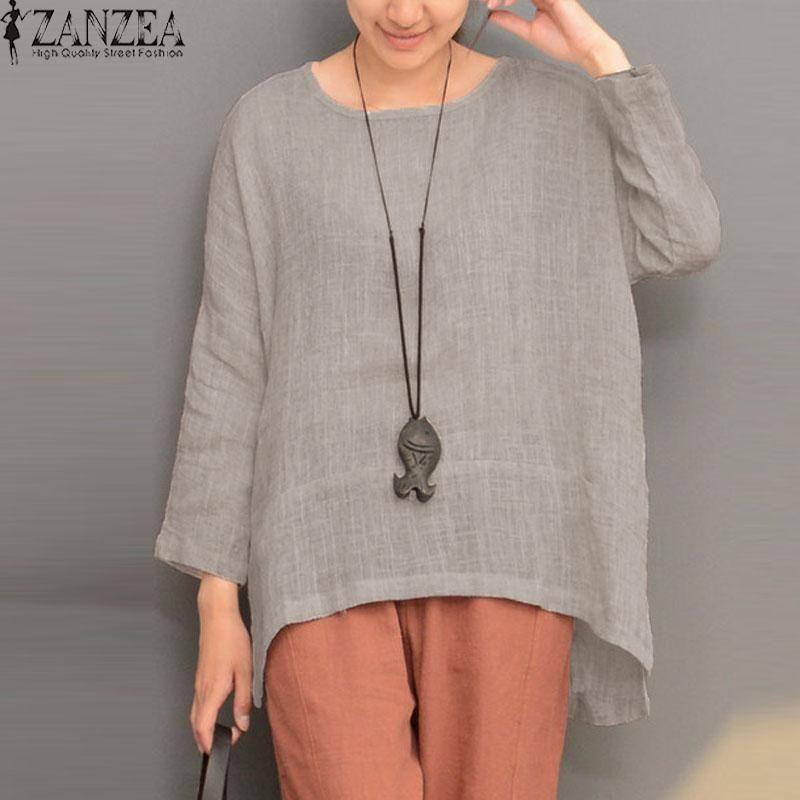 ea851375579 ZANZEA ZANZEA Plus Size Women Retro O Neck Long Sleeve Split Cotton Linen  Spring Robe Blouse Shirt Party Solid Baggy Top Blusas Grey