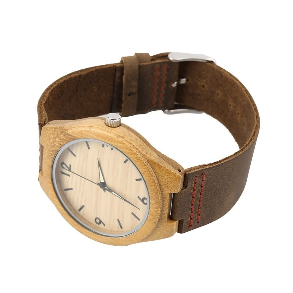 Allwin Vintage Wooden Dial Watch Quartz Watches Men Women Couple Watch Brown Band-Brown