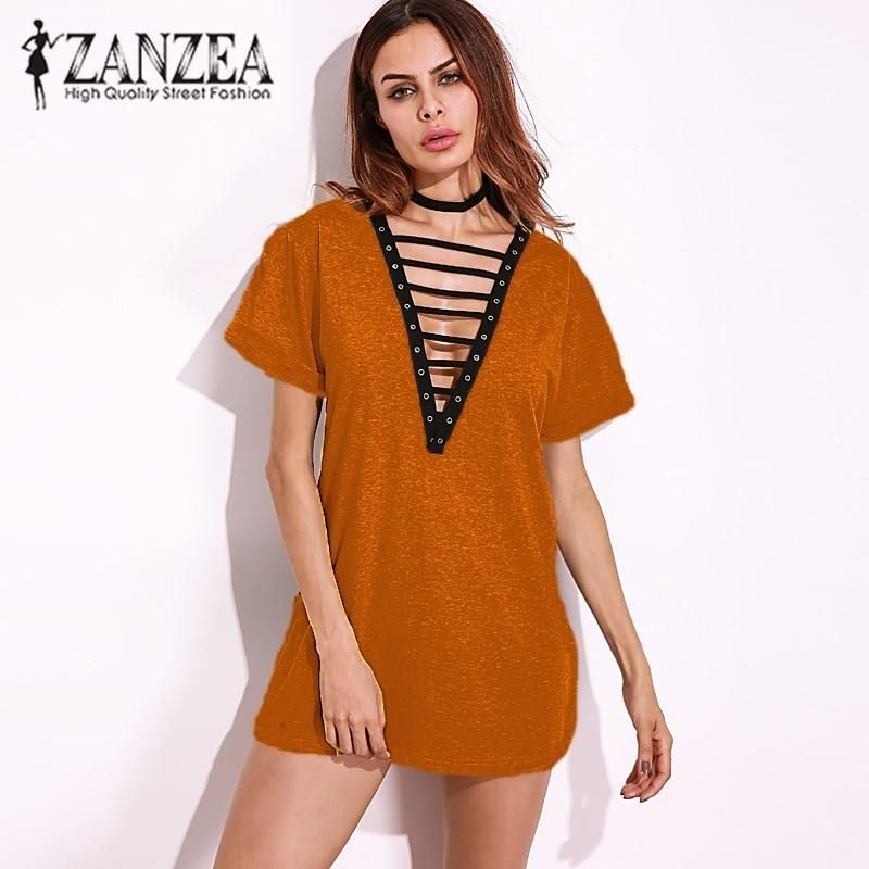 609ca2a5d65 ZANZEA Hot Sale Summer ZANZEA Women Dress Tops Sexy Deep V-Neck ...