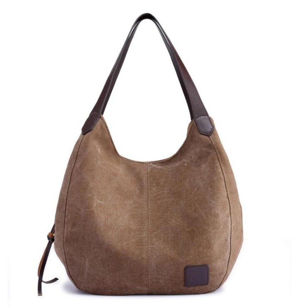 fd22d8ccfcd Fashion Women Vintage Ladies Large Canvas Handbag Travel Shoulder Bag  Casual Tote Purse  Brown