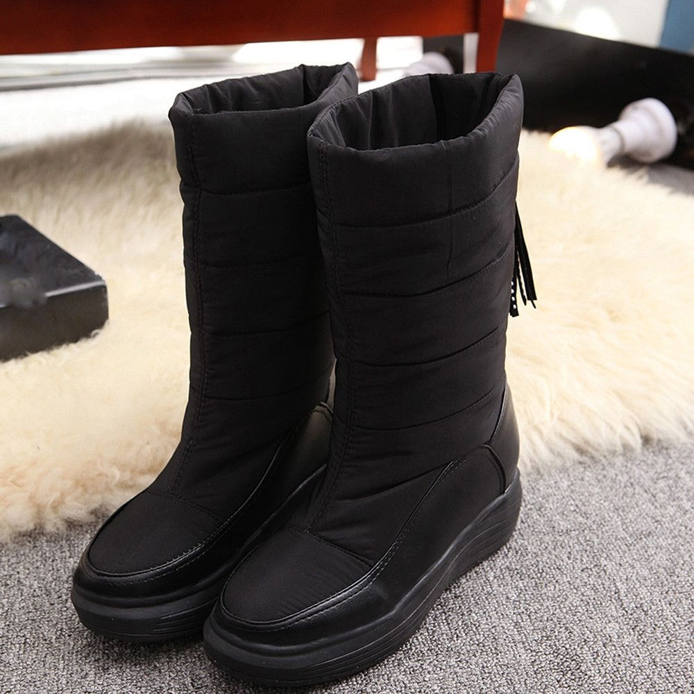 6be51d5906c Eissely Winter Warm Snow Boots Cotton Shoes Flat Heels Knee High ...