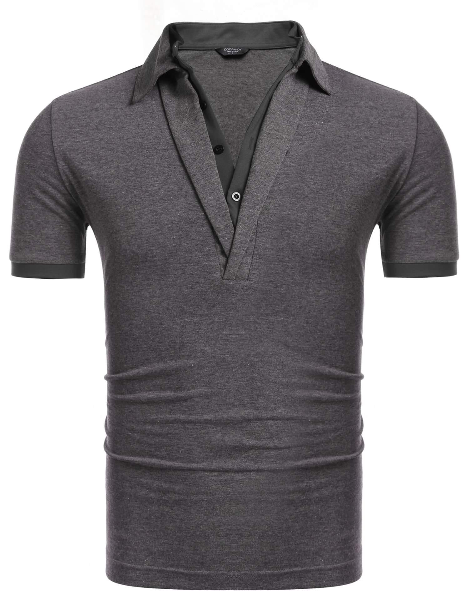 low priced 0da29 9e538 Sunshine New Men Casual V-Neck Short Sleeve Contrast Color False Two Pieces  Pullover Elastic Polo Shirt-Dark Gray Black