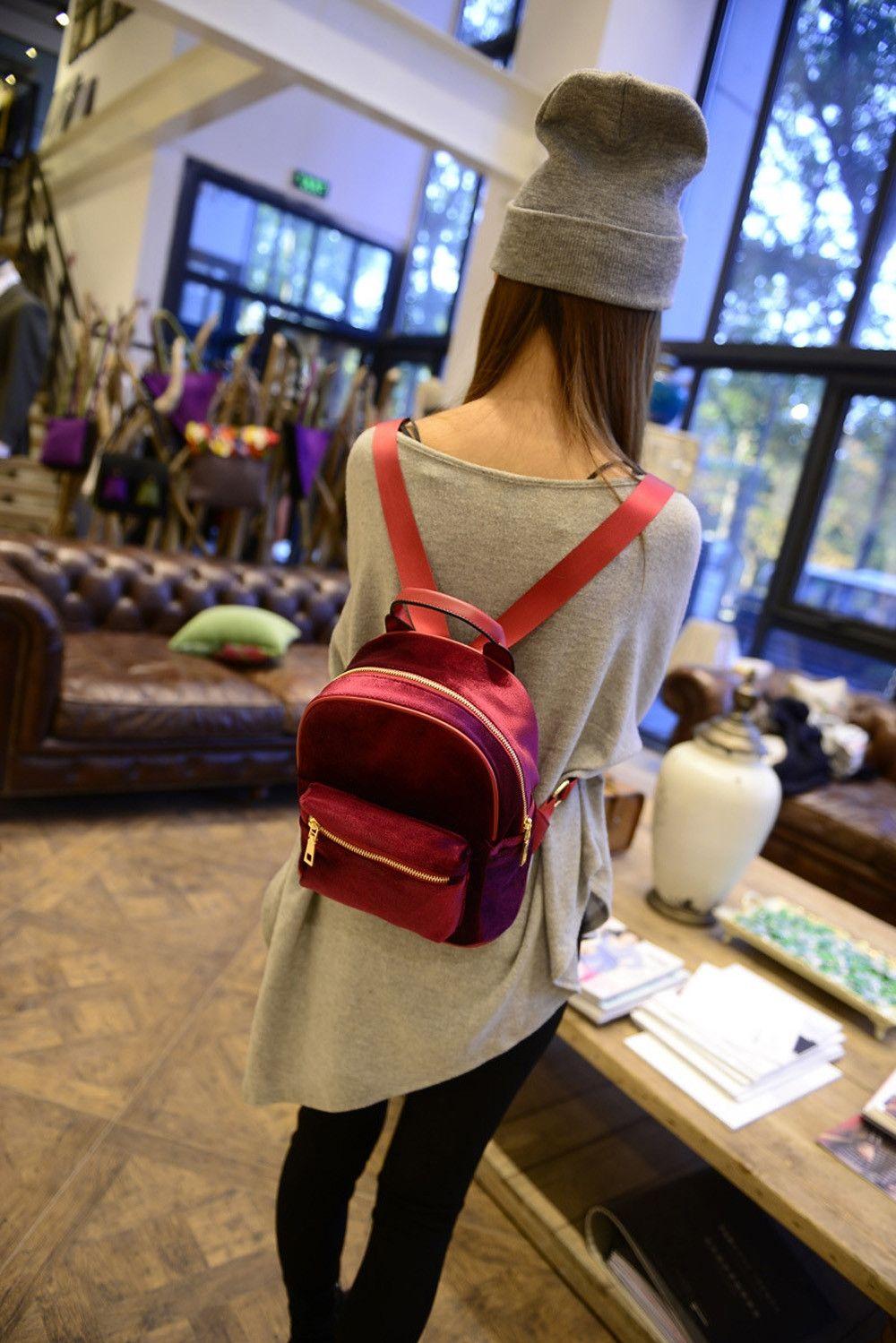 Neworldline Women Teenage Girl Velvet Zipper Backpack School Bags Fashion  Shoulder Bag - Red 9d92d51027238