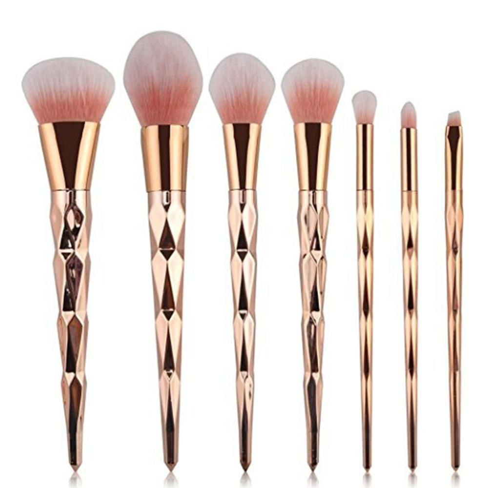 6da6b00f8b393 Louis Will Professsional 7pcs Makeup Cosmetic Brushes Set With Rose Gold  Delicate Diamond Shape Handle (Rose Gold)