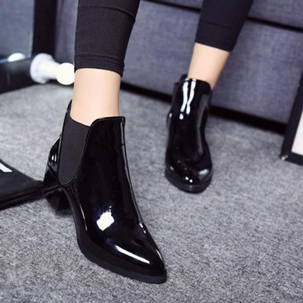 69f8a8c29bf Fashion Fashion Elastic Band Pointed Block Patent Leather Ankle ...