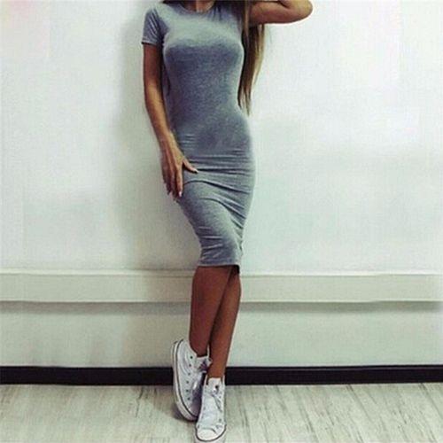 c27d79f6d0 Fashion Women Cotton Knee-Length Skinny Office Dress Short Sleeve ...