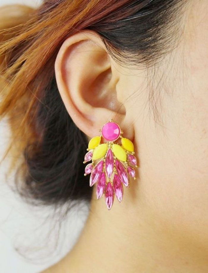 Neworldline Fashion Beautiful Occident Exquisite Crystal Earrings Stud Earrings HP-Hot Pink