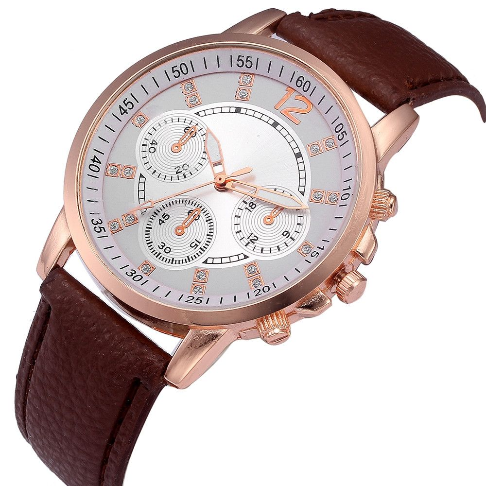 Fashion Watch Men Fashion Color Strap Digital Dial Leather Band Quartz Analog Wrist Watches-Brown