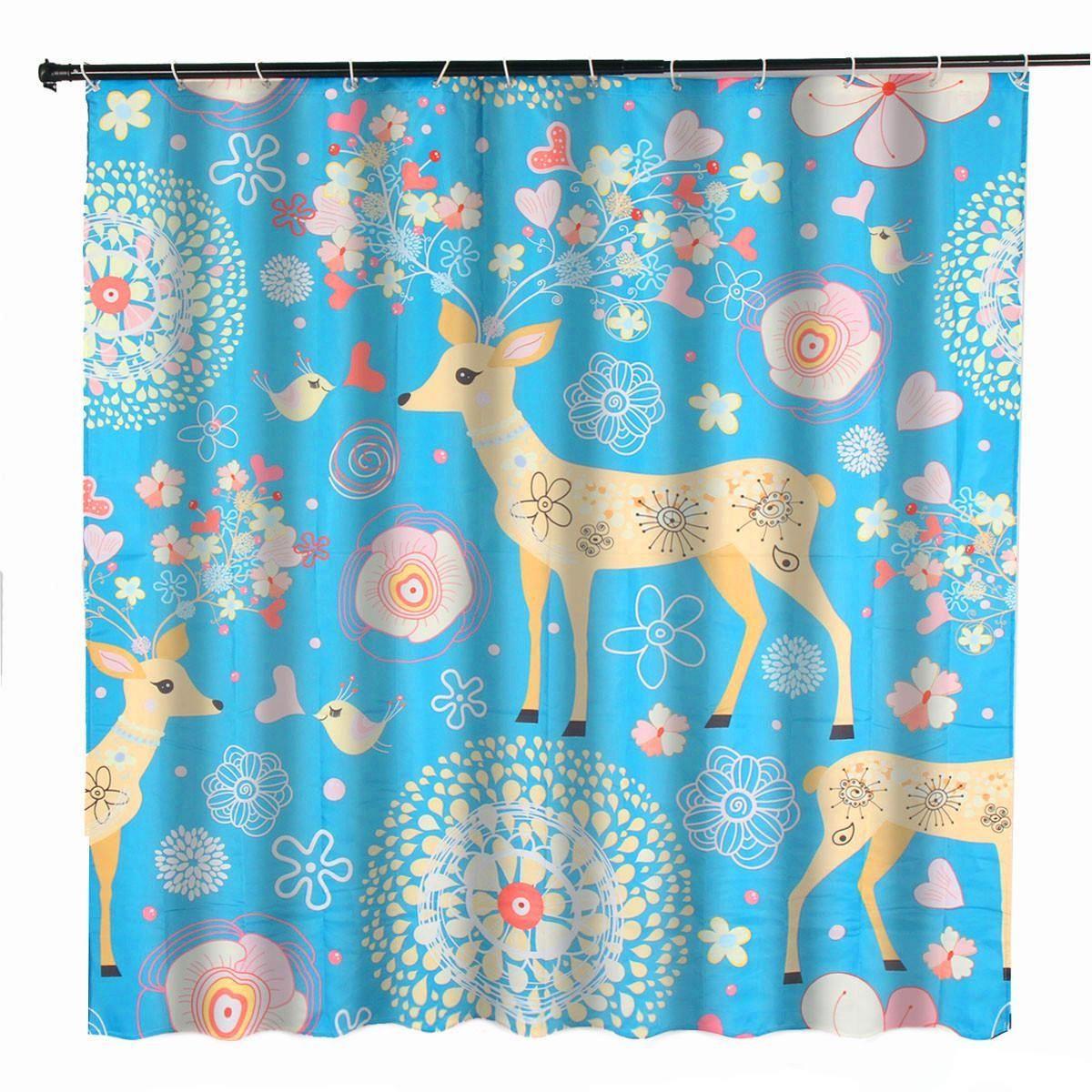 Generic 70 X70 Waterproof Flower Deer Bathroom Shower Curtain 180x180cm W 12 Hooks
