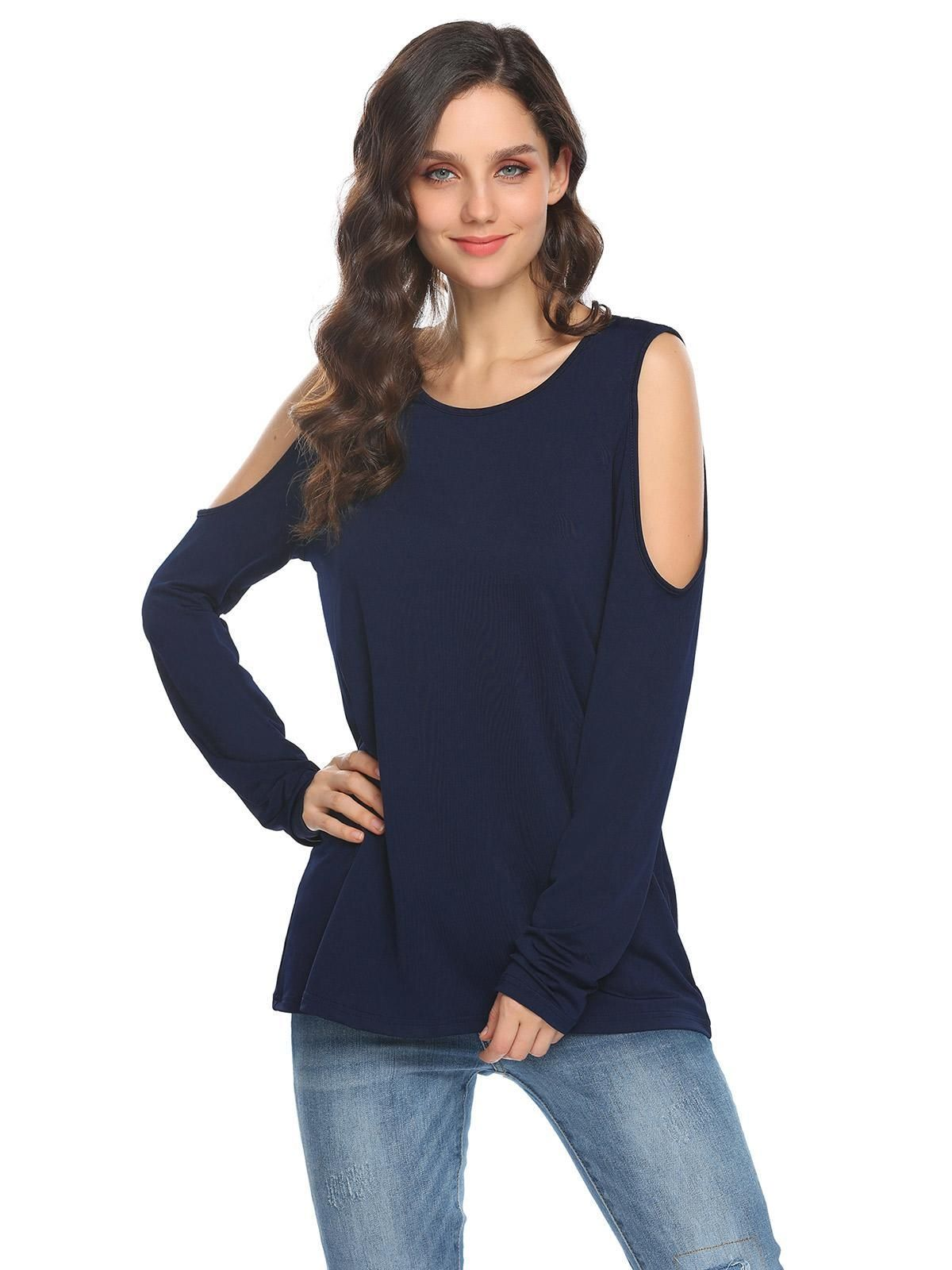 58fa08ee08b Sunshine Women Lace Patchwork Cold Shoulder O-Neck Long Sleeve T-Shirt-Navy  Blue