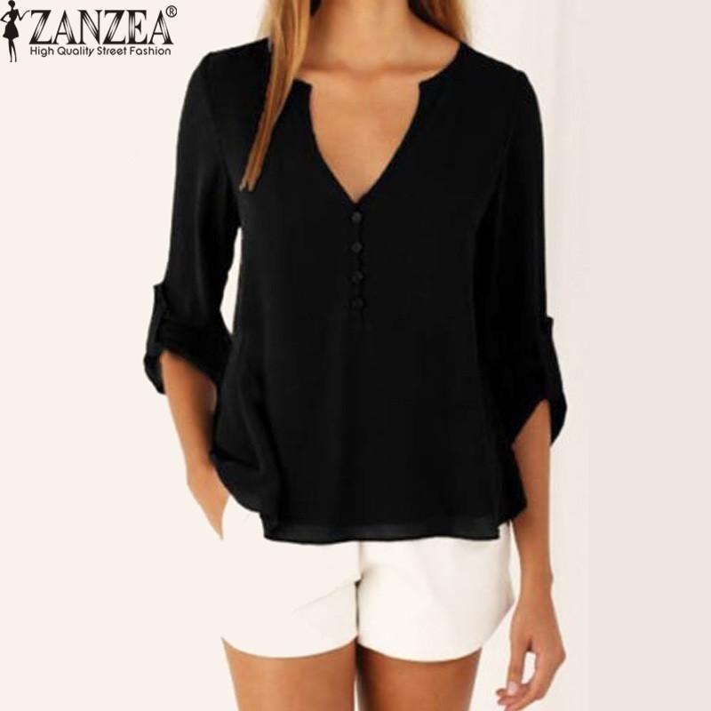 e7635c406b3 ZANZEA ZANZEA Women Blusas Casual Long Sleeve Chiffon Blouses V Neck Loose  Irregular Hem Tops Shirts Plus Size (Black). updating Prices