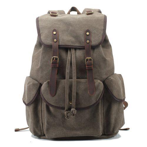 5ea318d0bb BlueLife Vintage Canvas Genuine Leather Backpack Casual Hiking-Daypack  Travel Shoulder Bag - Army Green