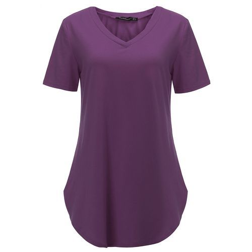 4209fc8760a7 Fashion Plus Size Womens Summer Short Sleeve V-Neck Basic T-Shirt Irregular  Shirt Casual Blouse Tops (Purple)