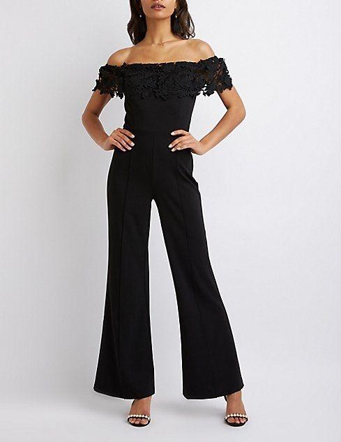 a731075f317 Charlotte Russe Crochet Off-The-Shoulder Wide Leg Jumpsuit ...