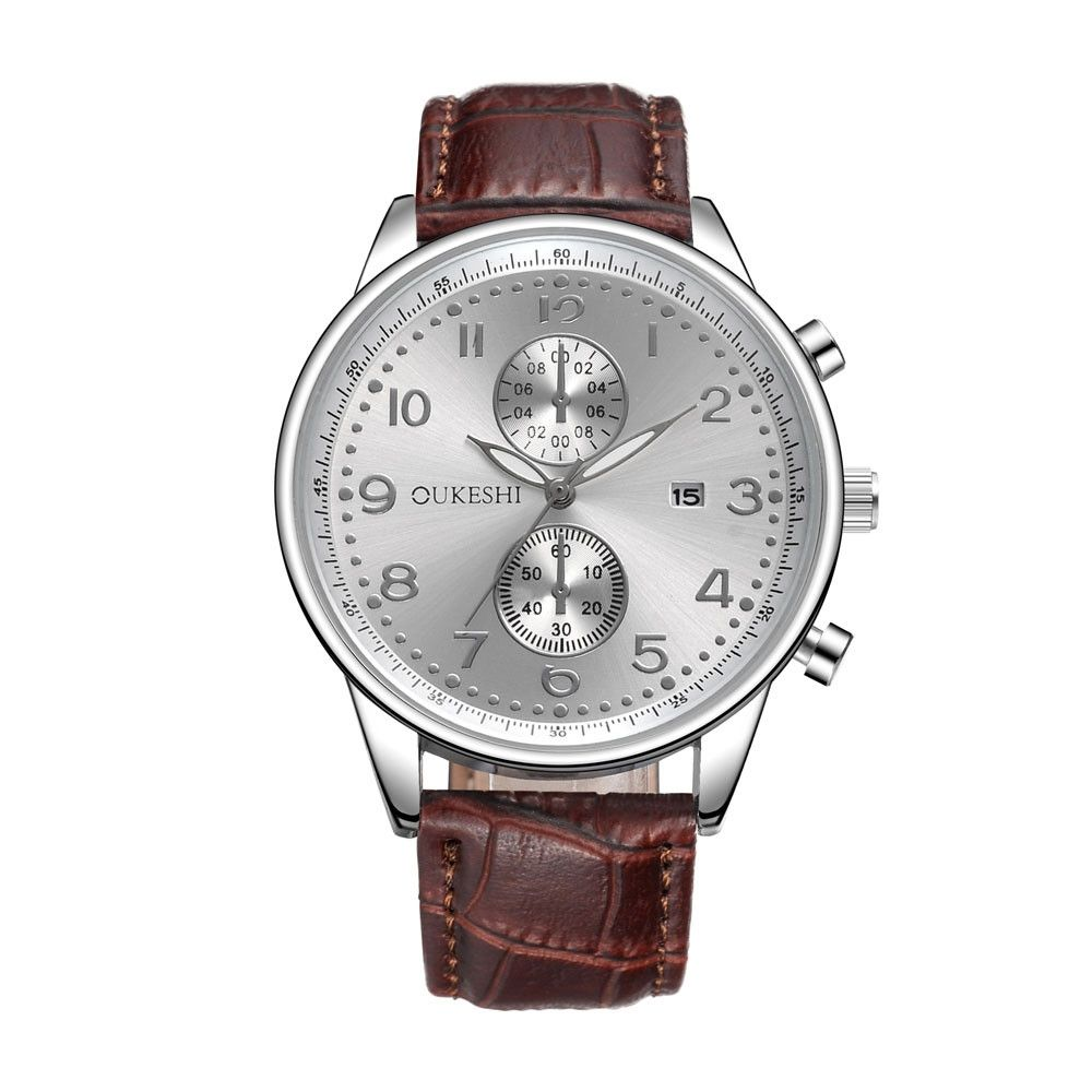 McyKcy Men Luxury Stainless Steel Quartz Military Sport Leather Band Dial Wrist Watch D-Brown