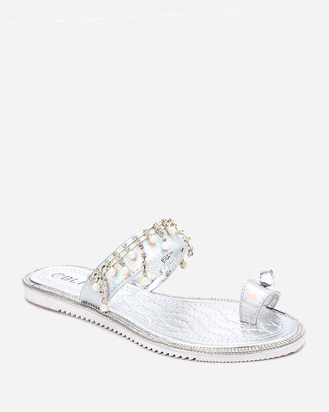 Spring Toe Thong Slipper - Silver