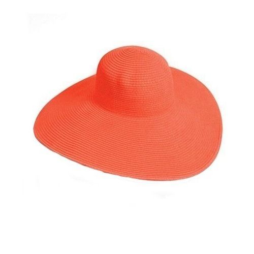 9e0dc188104 ZY Big Solid Color Floppy Sun Hat (Dark Orange)