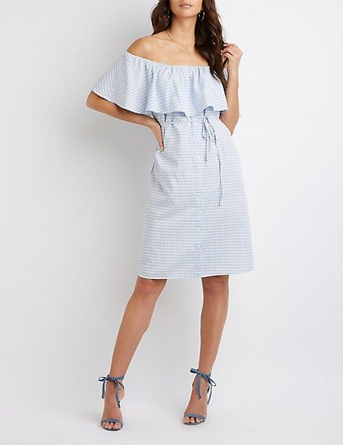 77d197f4fd9 Buy Charlotte Russe Button-Up Off-The-Shoulder Dress in Egypt