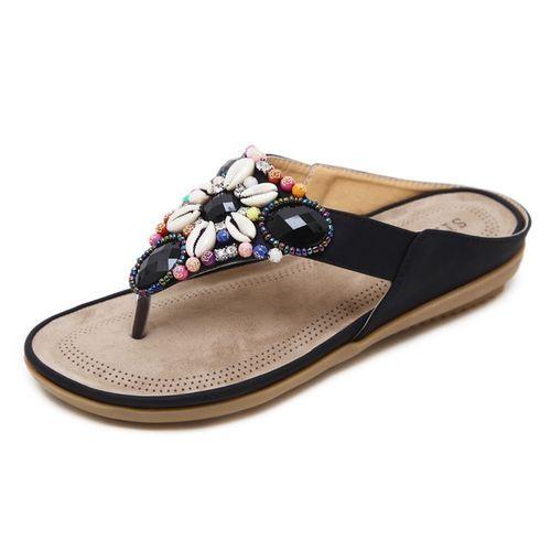 9de57550f Generic New Large Size Women Flip Flops Summer String Bead Decoration Women  Slippers Bohemia Women Beach Shoes-black. 443.00 جنية مصرى