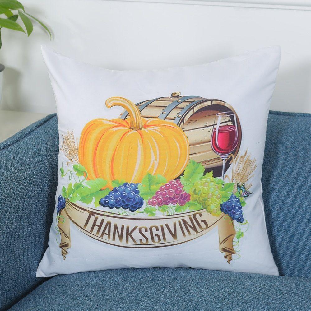Eissely Happy Thanksgiving Print Pillowcase Linen Cotton Sofa ...