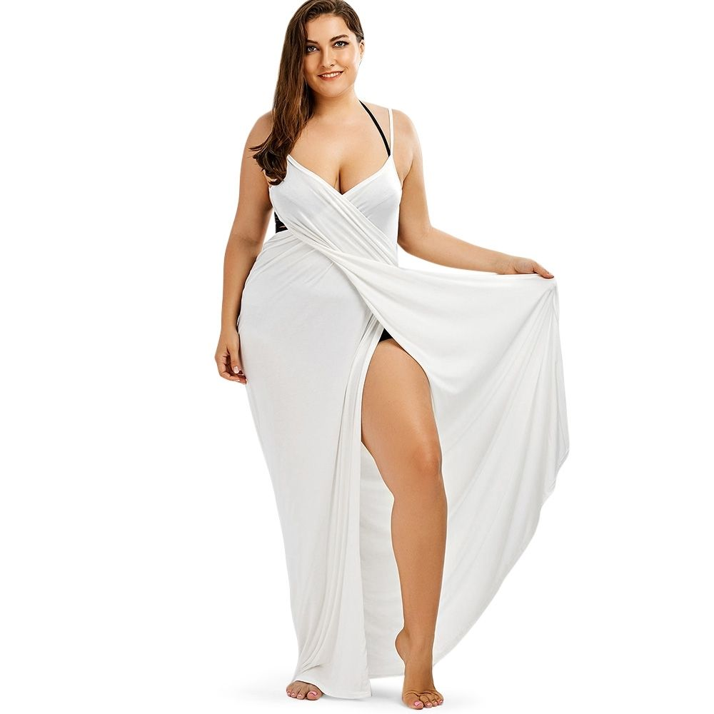 775878ca6c Fashion Plus Size Maxi Flowy Beach Cover Up Wrap Dress WHITE