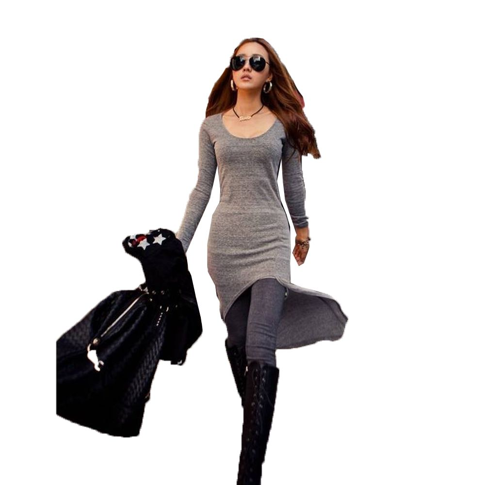 dca33108ae Fashion Women U-Neck Forked Tail Closed-Fitting Slit Dress - Gray ...