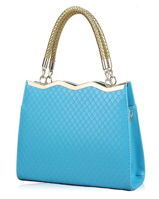 Neworldline Fashion Korean Women Leather Messenger Bag Tote Shoulder Bag Handbag -Blue