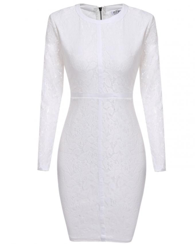 f2749192f0 Long Sleeve Floral Lace Cocktail Party Bodycon Pencil Dress-White ...